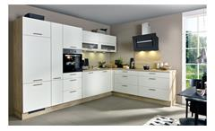 L-Küche ELLA silk seidenmatt und grain hell mit E-Geräten