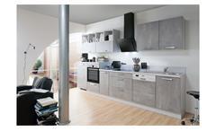 Küche CELINE Küchenzeile beton grau seidenmatt mit Geräten