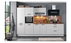 Küche CINDY Einbauküche weiß seidenmatt Eiche mit Geräten