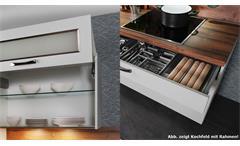 Küche Einbauküche Küchenzeile Cindy Küchenblock weiß matt und Eiche mit Geräten