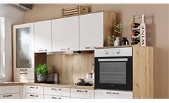 Küche Winkelküche L-Küche Frieda magnolie seidenmatt und Eiche natur mit Geräten