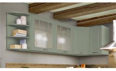 Küche Winkelküche L-Küche Mara in salbei seidenmatt und Eiche natur mit Geräten