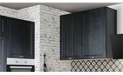 Küche Einbauküche Küchenzeile Alessa schwarz seidenmatt und Eiche mit Geräten