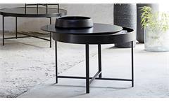 Couchtisch MOLLY 32 Beistelltisch rund Tisch mit Ablagefach schwarz lackiert