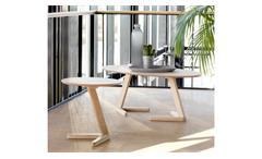 Couchtisch Ollie Tisch Beistelltisch Eiche natur massiv weiß geölt rund Ø 50 cm
