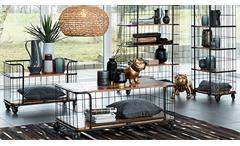 Couchtisch Monta Mangoholz massiv Wohnzimmertisch Metallgestell schwarz rollbar