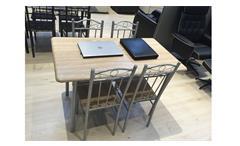 Essgruppe Akut Tisch mit 4 Stühlen Tischgruppe Küchen Stühle Metallgestell Holz