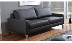 Sofa INTERMEZZO 3-Sitzer in schwarz Federkern und Chromfüße 204 cm