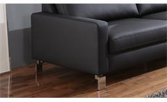 Sofa Intermezzo 3-Sitzer Couch in schwarz mit Federkern und Chromfüßen 204 cm