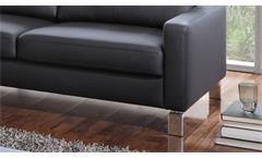 Sofa Intermezzo 2-Sitzer Couch in schwarz mit Federkern und Chromfüßen 164 cm