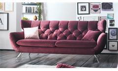 Sofa SIXTY 3-Sitzer Bezug Velour Stoff purple Gestell Chrom 225 cm