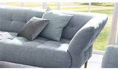 Sofa Big Apple 2,5-Sitzer Couch Stoff light blue grau Gestell Buche natur 220 cm