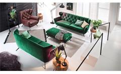 Hocker Sixty Sitzhocker Polsterhocker Hockerbank Stoff Velour smaragd grün 90x60