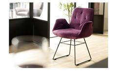 Stuhl Sixty Polsterstuhl Esszimmerstuhl Küchenstuhl in Stoff Velour purple lila