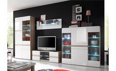 Wohnwand 1 Selene Anbauwand Wohnzimmer Sonoma Eiche und weiß Hochglanz inkl. LED