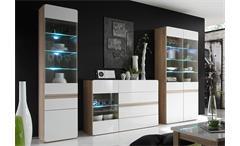 Wohnwand 2 Selene Anbauwand Wohnzimmer Sonoma Eiche und weiß Hochglanz inkl. LED