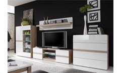 Wohnwand 3 Selene Anbauwand Wohnzimmer Sonoma Eiche und weiß Hochglanz inkl. LED