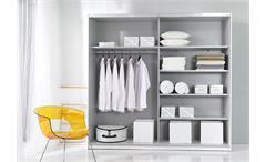 Schwebetürenschrank Beta Kleiderschrank Schrank in weiß mit Spiegel
