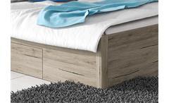 Bett Beta Futonbett Doppelbett San Remo Eiche hell weiß mit Bettkasten 180x200