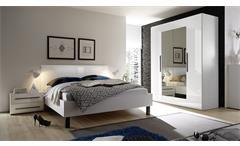 Schlafzimmer-Set Harmonys Kleiderschrank Bett Nakos weiß Hochglanz