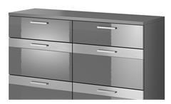 Kommode Maxi EA anthrazit matt Hochglanz Sideboard mit 6 Schubkästen 120 cm