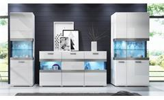 Wohnwand MAXI EA 3-teiliges Set in Weiß mit Hochglanz-Front
