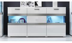 Wohnwand Maxi EA 3-teiliges Set in Weiß Hochglanz Vitrinen Anbauwand