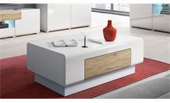Couchtisch Toledo Tisch in weiß Hochglanz und Eiche San Remo hell 110x60 cm
