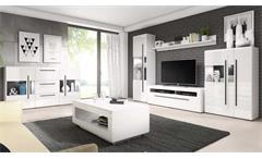 Wohnzimmer 6-tlg Komplettset Tulsa Anbauwand Couchtisch Sideboard weiß Hochglanz
