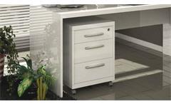 Rollcontainer Kronos Büro Container in weiß hochglanz lackiert auf Rollen