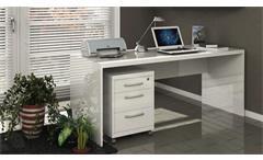 Schreibtisch Kronos Bürotisch Computertisch PC-Tisch weiß hochglanz lackiert