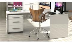 Büro Stampa Schreibtisch Kronos Rollcontainer Regal weiß hochglanz lackiert