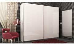 Schwebetürenschrank Nicole Kleiderschrank Schrank in weiß hochglanz lackiert 240 cm