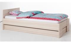 Jugendzimmer 1 Calisma Bett Schrank Nako weiß hochglanz lackiert und coimbra Esche