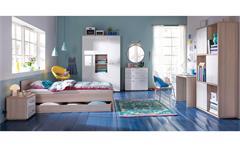 Jugendzimmer 2 Calisma Bett Schrank Nako weiß hochglanz lackiert coimbra Esche