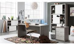 Schreibtisch Practico Computertisch Bürotisch in beton weiß hochglanz Lack 150x140