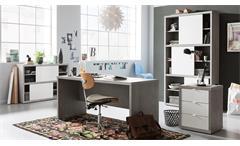 Büroset 1 Practico Regal Schreibtisch Kommode in beton und weiß Hochglanz