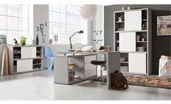 Büroset 2 Practico Regal Schreibtisch Kommode in beton und weiß Hochglanz Lack