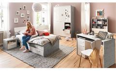 Jugendzimmer-Set Mipiace Hochglanz weiß Beton Dekor 6-teilig