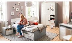 Jugendzimmer-Set Mipiace Hochglanz weiß Beton Dekor 3-teilig