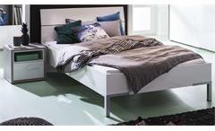Jugendzimmer-Set Mipiace 3tlg. Beton Look Hochglanz weiß Bett Kleiderschrank Nachttisch