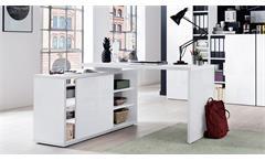 Eckschreibtisch Core Winkeltisch Schreibtisch weiß Hochglanz Melamin 150x120 cm