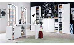 Büro Core Arbeitszimmer Büromöbel Komplett Set weiß Hochglanz Melamin 5-teilig