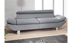 2-er Sofa CARRIER Lederlook grau 208 cm