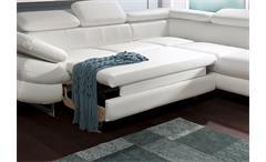 Ecksofa Solution Sofa Wohnlandschaft in weiß mit Bett Arm- und Kopfteilfunktion