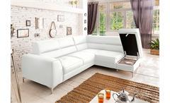 Ecksofa Spectacle Sofa Wohnlandschaft weiß mit Bettfunktion und Bettkasten