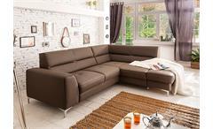 Ecksofa SPECTACLE Sofa mud braun Bettfunktion und Bettkasten