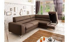 Ecksofa Spectacle Sofa Wohnlandschaft mud braun mit Bettfunktion und Bettkasten