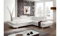 Ecksofa ENTERPRISE Sofa Wohnlandschaft weiß mit Funktion