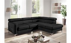 Ecksofa Sammy Polsterecke Sofa Wohnlandschaft in schwarz mit Kopfteilfunktion